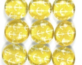 Glass Marble Magnets or Push Pins Set - Anchors on Yellow