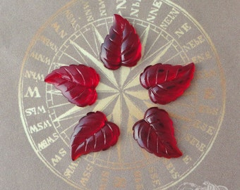 Vintage Glass Cabochons - 12x16mm Siam Ruby Leaves - 5 Gold Foiled Flat Back Glass Cabs