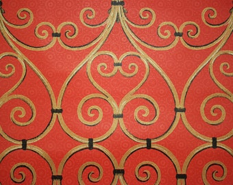 1970's Vintage Wallpaper Gold and Black Grillwork on Red