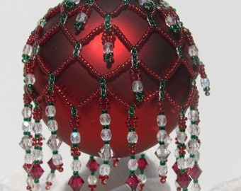 Red, Green and White Classic Candy Cane Christmas Cascade Seed Bead Ornament
