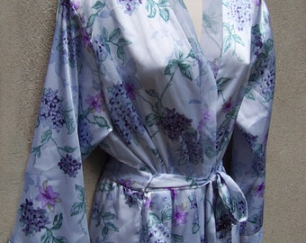 Satin wrap robe Oscar de la Renta short lavender small
