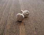 Simple silver hammered organic studs