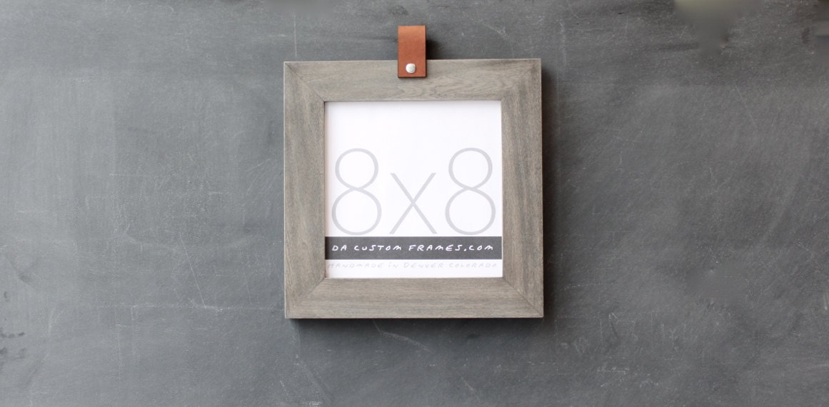 8x8 leather collection picture frame driftwood gray 8x8 handmade picture frame