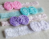 Petite Newborn Headband with Chiffon Bow and Lace in White, Baby Pink, Aqua Blue, Lavender / Boutique Couture Baby Shabby Chic