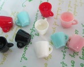 NEW item Miniature Tea cup charms 5pcs ( Pink Sold Out ) Random colors