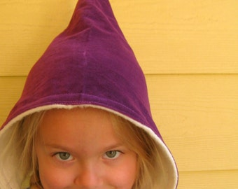 Gnome Winter Hat - Purple Velveteen and Organic Cotton Fleece- size 6 to 24 months Ready to Ship