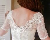 V BACK New Kiss me in BARILOCHE white bridal lace top bolero wedding shrug white lace top white lace blouse bridal bolero jacket