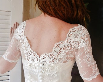 V BACK New Kiss me in BARILOCHE white bridal lace top bolero wedding shrug white lace top white lace blouse bridal bolero jacket