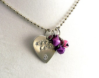 """Colorful Bells & Kitty Love Heart Shaped 18"""" Aluminum hand stamped novelty fetish pendant on stainless steel bead chain"""