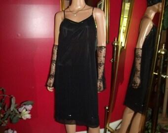Black  Sequins  Trim Vintage 80s  Flapper Dress  Garden  Tea Party  20's Theme Size 9/10