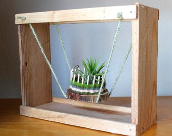 Spring Swing - reclaimed wood and yarn air plant hanger with Tillandsia terrarium