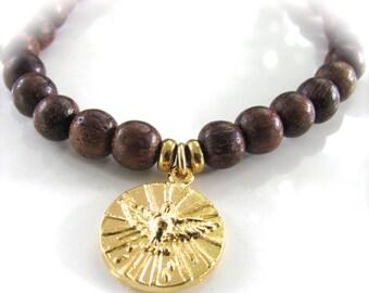READY to SHIP - Holy Spirit - Religious Medal Stretch Gemstone Bracelet  - Gold Finish & Sandalwood
