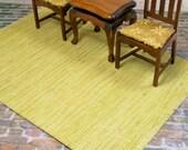 Yellow Green Rug Carpet Rectangle 1:12 Dollhouse Miniature Scale Artisan