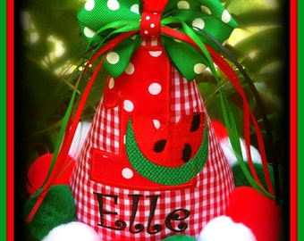 ULTIMATE WATERMELON First  Birthday Hat, You Choose Colors, Personalize, 2nd Birthday Party hat, Watermelon Birthday Hat,  by Gingham Bunny