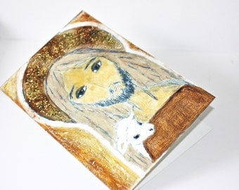 The Good Shepherd - Greeting Card 5 x 7 inches - Folk Art By FLOR LARIOS