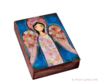 Angel en Rosa -  Giclee print mounted on Wood (6 x 8 inches) Folk Art  by FLOR LARIOS
