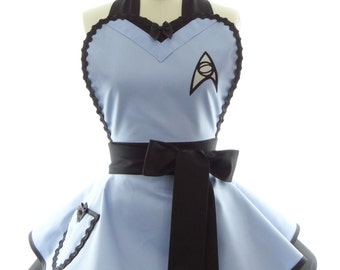 Blue Trekkie Spock Retro Womens Costume Apron - Unique Gifts/Gift for Her - Bestselling Costume & Cosplay Aprons by BambinoAmore on Etsy