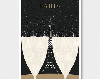 "SALE, Illustration, Paris Print, ""Eiffel Tower"" Drawing Art Deco Poster, Black and Gold Wall Art"
