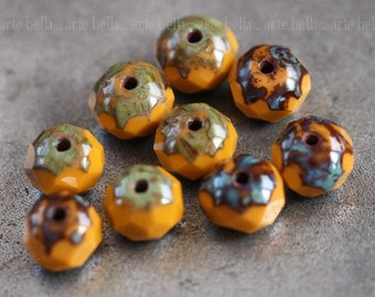 ROASTED No. 1 .. 10 Picasso Czech Glass Rondelle Beads 6x4mm (3906-10)