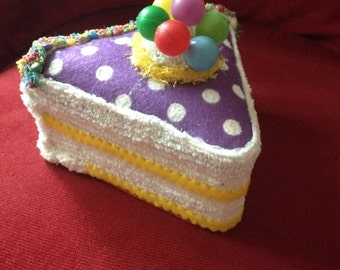 Faux Fake Cake Slice Triangle box for Centerpiece/ Birthday Gift/ Party Favor; Memento Box; purple dotted with vintage balloons on top