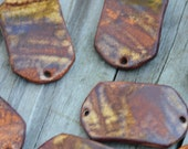 Copper Brown Pottery Bracelet Bead, The Carmine Bead
