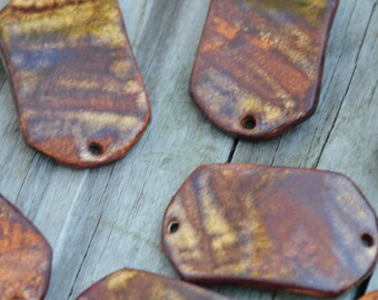 Copper Brown Pottery Bracelet Bead, The Carmine Bead