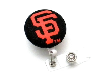 Retractable Badge Reel, Fabric Covered Button, Rare MLB SF Giants Baseball, Nurse Badge Reel, Hospital ID Badge, Sports Badge Reel