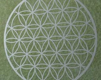 Flower of life sacred geometry silver vinyl decal