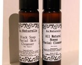 Black Soap Facial Cleanser OR  All Natural Honey Facial Cleanser    -   One Ounce - Try Me Size - Oily Skin  -  Travel Size
