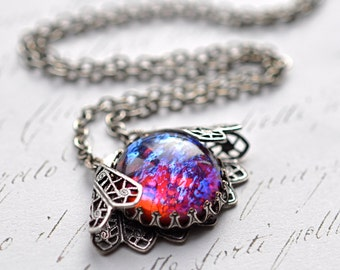 Dragon's Breath Necklace - Vintage glass opal wrapped in silver Filigree - Vampire Costume Necklace