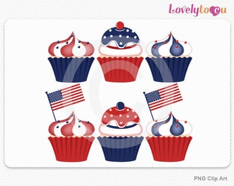 American flag cupcakes, 4th of July Independence Day celebration, digital clip art set PNG (041)