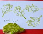 red oak leaf, hand carved rubber stamp, handmade rubber stamp