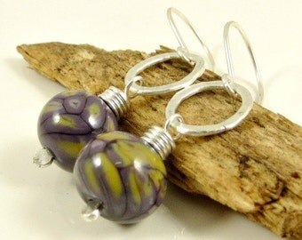 Lampwork Earrings, Fine Silver Earrings, Wire wrapped Jewelry Gifts for Her