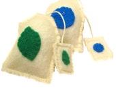 Felt Play Food Tea Bag Toy Set Mint and Blueberry