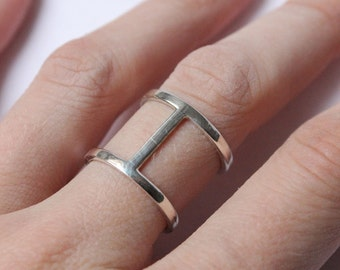 Double band ring made of Sterling silver, simple ring, made to order