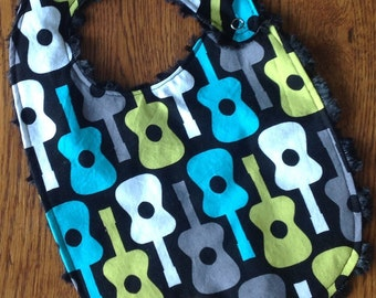 Black and Gray Guitar Minky Toddler/Baby Bib