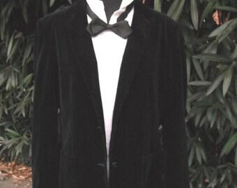 VINTAGE Black Velour Jacket or Blazer, Emporium Capwell, After Six Formal Wear, Mens Bridal, Best Man Formal Jacket
