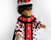 Doll Costume for 18 inch Doll Queen of Hearts Doll Costume Red and White Queen Costume for 18 inch Doll AG Doll Costume Fantasy Doll Costume