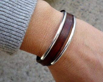 Leather bracelet, Sterling Silver Tubes bracelet / LeatherCuff /Stacking Bracelet,Women's Bracelet