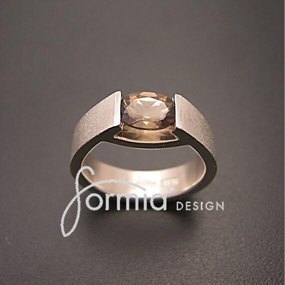 Sterling silver ring tension set smoky quartz