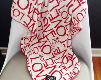 LOVE Baby Swaddle Blanket in Red and Cream // Valentine's Day Baby // love print Swaddle // MJC0920