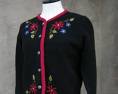 Vintage Laura Ashley Pure Wool Embroidered Cardigan