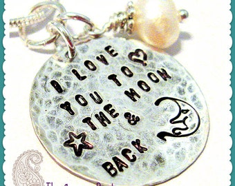 I Love You To The Moon And Back Charm Saying Necklace