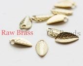 300pcs Raw Brass Charm - Leaf 7.5x4mm (1865C-U-53)