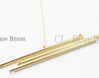 10 Pieces Raw Brass Long Bar - Stick 2x51mm (1714C-T-77)