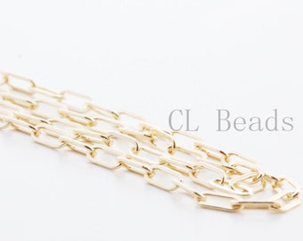 One Foot 14K Gold Filled Chain-Drawn Flat Cable 6.20x2.60mm (GFC26)