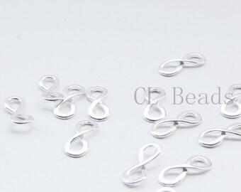 2pcs Shiny Sterling Silver Links-Infinity charm 16x7mm