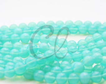25pcs Czech Press Glass Round Beads - Green Opal 8mm (PG821602)