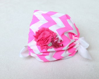 Mika Bonnet in Chevron - Hot Pink - Newborn to One Year Grow with Me Bonnet - Removeable Embellishment - Ready to Ship