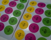 Bee Stickers, Set of 30, Round Stickers, Yellow, Pink, Green, Bumble Bee, Gift Wrap, Seals, Etsy, The Card Stall, Paper Goods, Kids Stuff